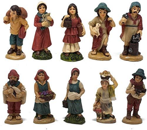 Aurora Store Set 10 Pastori in Resina 5 cm Presepe Statuine in Personaggi Assortiti dipinte a Mano Personaggi Mestieri Contadini Figure Diverse