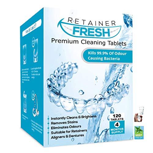 Retainer Reinigingstabletten – 120 tabletten 4 maanden voorraadhouder vers-, Brite- en vlekvrij – Retainer Cleaner…
