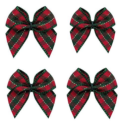 VIVIQUEN 50pcs Mini Gingham Ribbon Bows Checkered Ribbon Flowers Plaid Ribbon Bow Appliques DIY Craft for Sewing, Scrapbooking, Wedding, Gift (Gingham-Christmas)