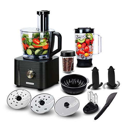 TopStrong Küchenmaschine Multifunktions 1100W,11 Funktionen Food Chopper Prozessor, 3,2L Bowl &1,5L Behälter &Mini-Zerkleinerer, Upgrade Schneidescheibe, Zitruspresse, Knethacken