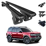 OMAC Roof Rack Crossbars Compatible with Ford Bronco Sport 2021 | Aluminum Lockable Black Roof Top Cargo Racks | Auto Exterior Accessories Luggage Ski Kayak Bike Snowboard Carriers Set 2 Pcs