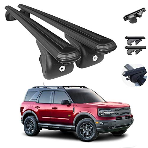 OMAC Auto Exterior Accessories Roof Rack Crossbars | Compatible with Ford Bronco Sport 2021| Aluminum Lockable Black Roof Top Cargo Racks | Luggage Ski Kayak Bike Snowboard Carriers Set 2 Pcs