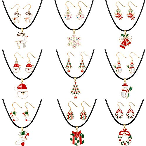 Christmas Jewelry Set gifts for Womens Girls, Thanksgiving Xmas Holiday Jewelry Leather Choker pendant Necklace Drop Dangle Earrings Set Christmas Snowman Snowflake Sock Santa Claus Christmas Tree Bell