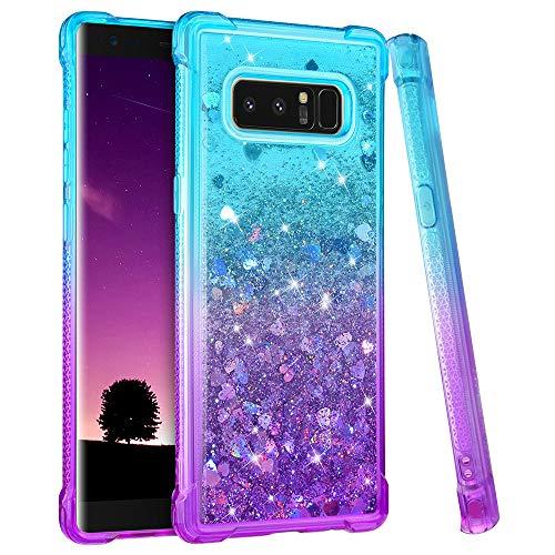 Ruky Galaxy Note 8 Case, Gradient Quicksand Series Glitter Flowing Liquid Floating Soft TPU Bumper Cushion Girls Women Phone Case for Samsung Galaxy Note 8 (Teal Purple)