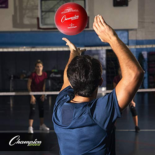 Champion Sports Rubber Volleyball, Official Size, for Indoor and Outdoor Use - Durable, Regulation Volleyballs for Beginners, Competitive, Recreational Play - Premium Volleyball Equipment - Assorted