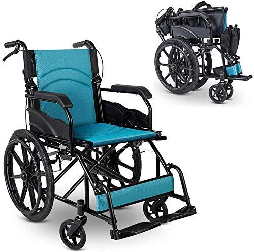 mjj Silla de ruedas ligera, plegable, autopropulsada, reposapiés telescópico plegable y doble freno, pesa solo 11 kg, fácil de transportar y de transportar, color azul