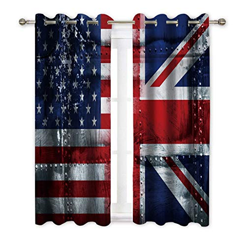 """DUISE Thermal Blackout Insulated Curtain, Alliance Togetherness Theme Composition of UK and USA Flags Vintage, Window Drapes 2 Panels for Bedroom Living Room Decor, 55"""" W x 63"""" L, Navy Blue Red White"""