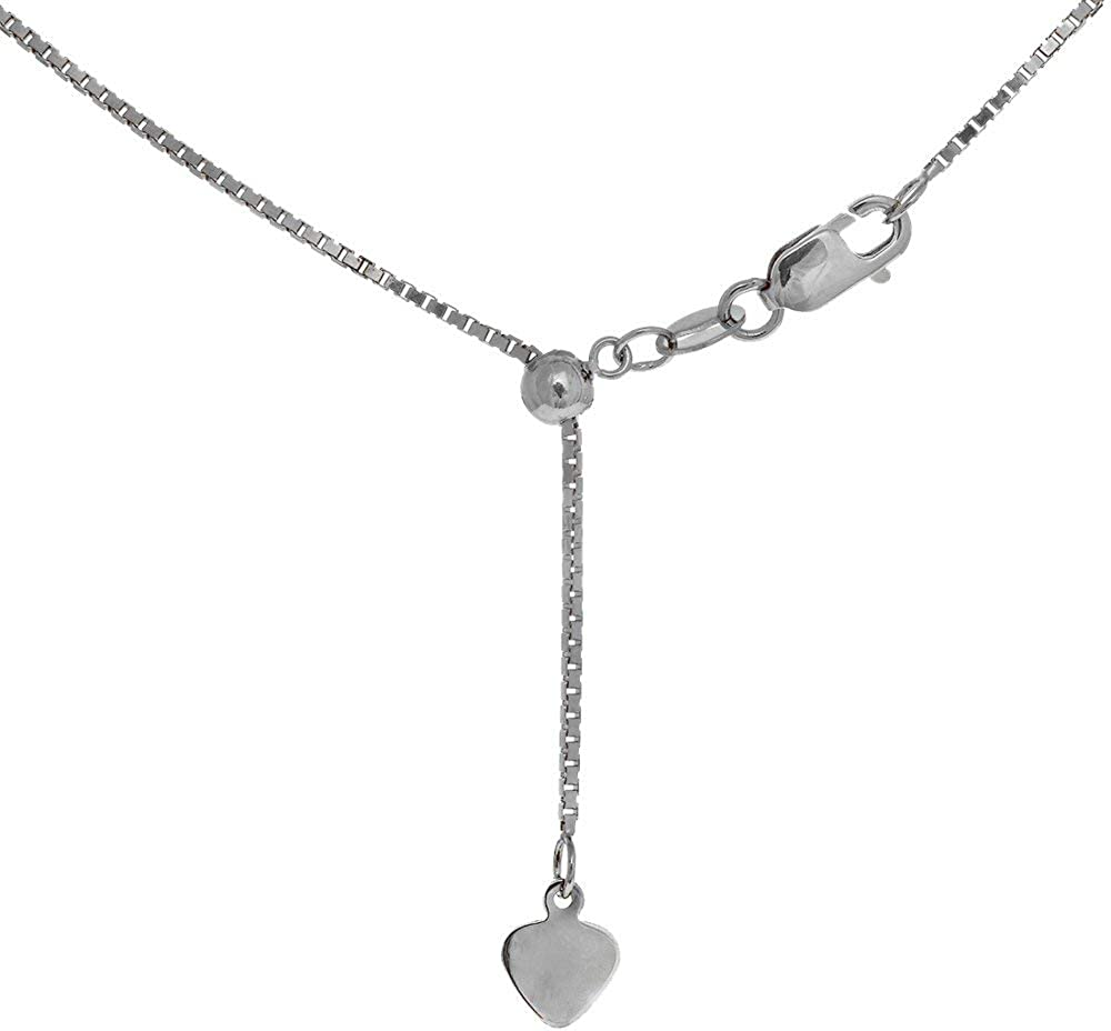 JewelStop 10k Solid White Gold 0.7mm Extendable & Adjustable Box Chain, Lobster Claw - 22 Inches, 2gr.