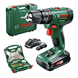 Bosch PSB 1800 LI-2 Cordless Combi Drill with two 18 V Lithium-Ion Battery with a 70 Piece Accessory Set