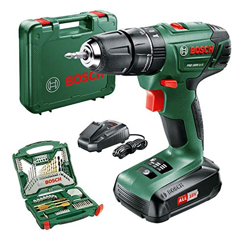 Bosch PSB 1800 LI-2 Cordless Combi Drill with Two 18V Lithium-Ion Batteries & 70-Piece Accessory Set