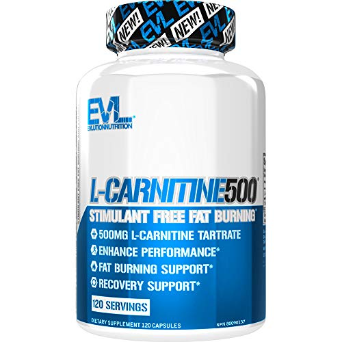 Evlution Nutrition L-Carnitine500, 500 mg of Pure L Carnitine in Each Serving, 120 Count, Stimulant-Free, Capsules