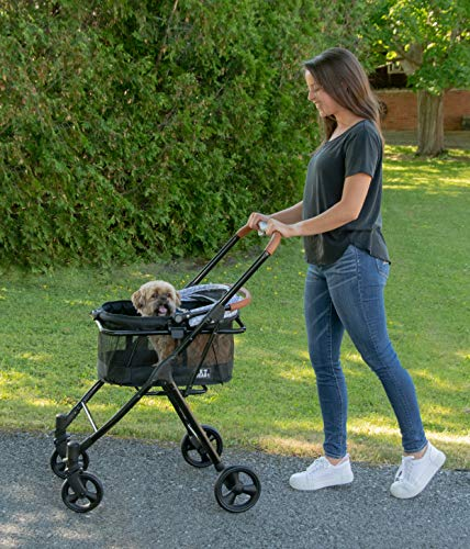 Pet Gear View 360 Pet Stroller Travel System 3-in-1 Carrier, Booster Seat and Stroller with Push Button Entry, Silver Pearl (PG8140NZSP) 3