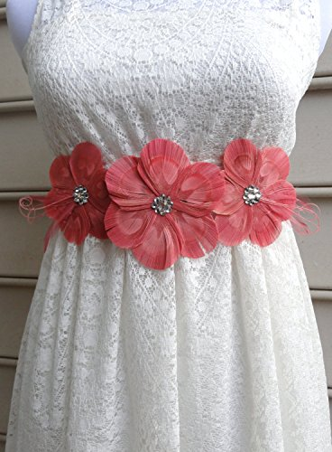 Oh Lucy Handmade LANNA Peacock Feather Flower Bridal Wedding Sash with Pink Veil, Coral and Pink Feathers with Crystals