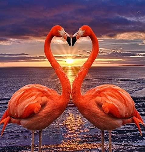 Punto De Cruz Diamante 5D Diy Flamingo Beso Animal Cristales Para Manualidades Kit De Pintura De Diamante 5D Punto De Cruz Decoración Del Hogar 30 * 40cm