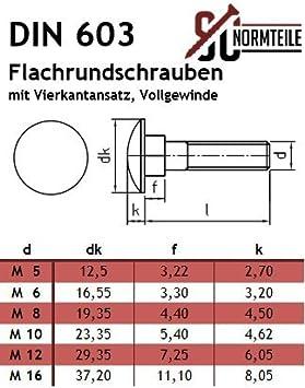 M12x120 - Edelstahl A2 V2A Vollgewinde SC603 mit Vierkantansatz Flachrundschrauben//Schlossschrauben - DIN 603 10 St/ück SC-Normteile