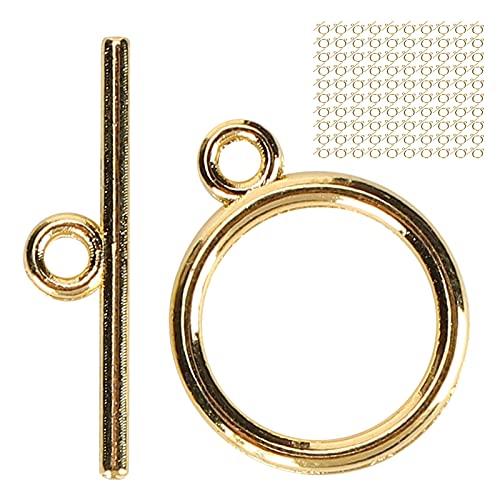 Conjuntos de cierres de pulsera de bricolaje, 100 conjuntos de cierres de palanca, pulsera de aleación de color dorado, hebilla OT, suministros para hacer joyas de bricolaje