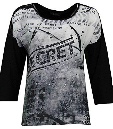 No Secret Damen Vokuhila T-Shirt hinten lang 3/4 Ärmel Strass Spitze Schwarz große Größen Viskose, Größe:48