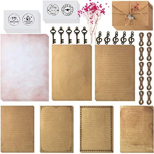 79 Stücke Vintage Schreiben Briefpapier und Umschläge Set Enthält 30 Blätter Briefpapier mit 3 Größen, 12 Kraft Umschlägen, 12 Retro Schlüsseln, 12 Hanfseilen, 12 Aufklebern für Weihnachten