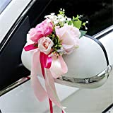 RAILONCH 4 pièce Décoration Voiture de Mariage Bouquet Fleur Décoration Mariage Baptême Accessoire Fête Anniversaire Party Soirée (Rose)