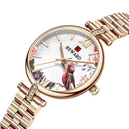 JIADUOBAO Reloj de lujo para mujer con diseño creativo de oro, reloj de pulsera ultrafino, de acero completo, resistente al agua (color oro rosa)
