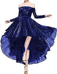 Royal Blue Sequins Off The Shoulder Long Sleeve High Low Hem Gown
