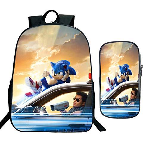 Mochila escolar Sonic cartoon 2 unids/set Big Space Sonic mochila para adolescentes, mochila diaria para estudiantes, regalos de regreso a la escuela, mochila para niños, niñas, mochilas escolares
