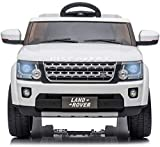 TOBBI 12V Licensed Land Rover Ride on SUV Car for Kids with Remote Control Battery Powered Electric Vehicle with 3 speeds, Spring Suspension,Mp3 Player (White)