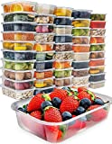 Food Storage Containers with Lids - Plastic Containers with Lids (50 Pack,17 Ounce) Plastic...