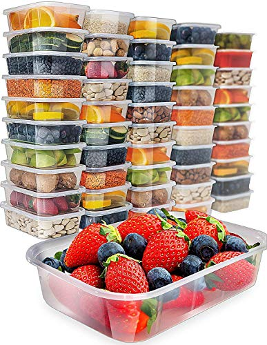 Food Storage Containers with Lids - Plastic Containers with Lids (50 Pack,17 Ounce) Plastic Containers for Food Container - Freezer Containers Plastic Food Containers Deli Containers by Prep Naturals