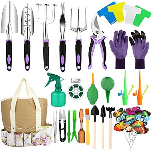 Yolidas 100 Pcs Garden Tools Set, Succulent Tools Set Included, Heavy Duty Aluminum Gardening Tools for Gardening, Non-Slip Ergonomic Handle Tools, Durable Storage Tote Bag, Gifts Tools for Women Men