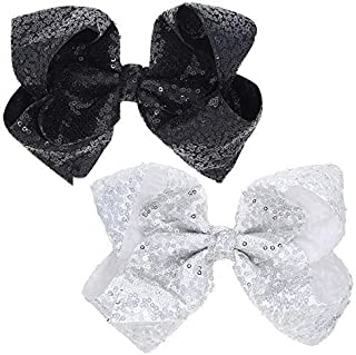 2pcs 8 Inch Huge Large Children's Hair Bows, Fish Scales Glitter Sequins Bow with Alligator Hair Clip Very Cute Beautiful Girls Bows Suitable for Stage Performance