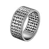 Beydodo Silber 925 Ring Damen Herren Siegelring Buddhismus mit Gravur Sutra und Lotus Fo Partnerring Punk Ring Silber Große 56 (17.8)