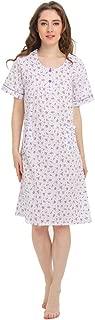 Short Sleeve Nightgown Floral Printed Sleep Dress for Women Sleepwear