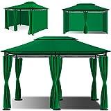 KESSER® - Pavillon 3x4m inkl. Seitenwände mit Reißverschlüsse, Eckig Festzelt Partyzelt Gartenlaube Gartenzelt Luxus Gartenpavillon UV-Schutz 50+, Grün