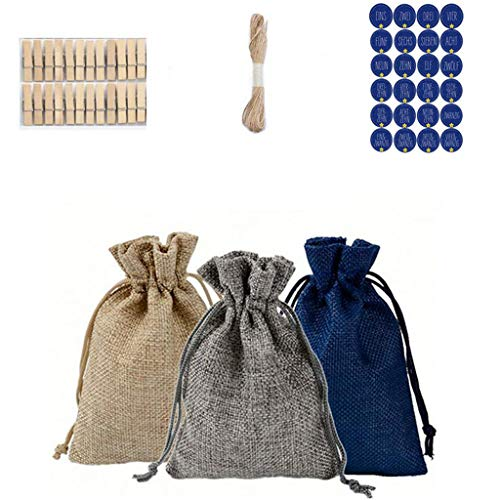 Yue668 - Paquete de regalo de lino de 3 colores para disfraz, bolsa de caramelos de Navidad, paquete de regalo de Navidad, paquete de regalo de Navidad, 24 unidades