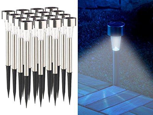Lunartec Solarlampen Balkon: 16er-Set Mini-Solar-LED-Wegeleuchten mit Dämmerungssensor, IP44 (Solar Wegleuchte)