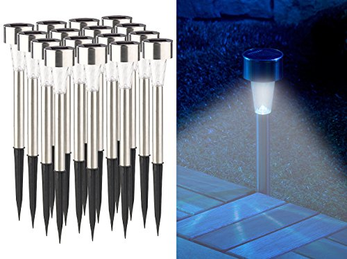 Lunartec Solar Gartenleuchten: 16er-Set Mini-Solar-LED-Wegeleuchten mit Dämmerungssensor, IP44 (Solar LED Leuchten)