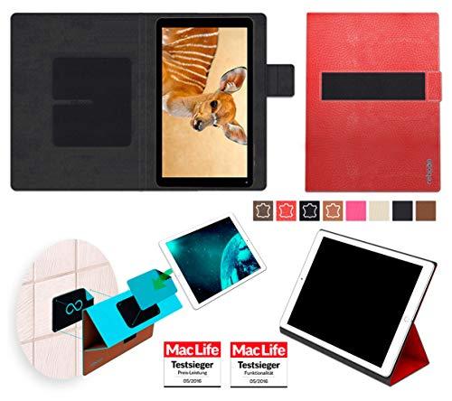 reboon Hülle für Blaupunkt Atlantis A10 Tasche Cover Case Bumper | in Rot Leder | Testsieger