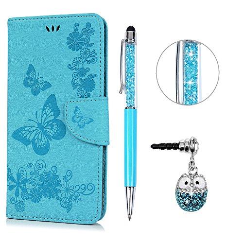 Kasos iPhone 6S Plus Hülle Leder Case, iPhone 6 Plus Handyhülle Brieftasche Book Type PU Leder +TPU Innere Tasche Bunt Gemalt Magnetverschluss Ledertasche Cover,Blau + Touch Pen + Stöpsel Staubschutz