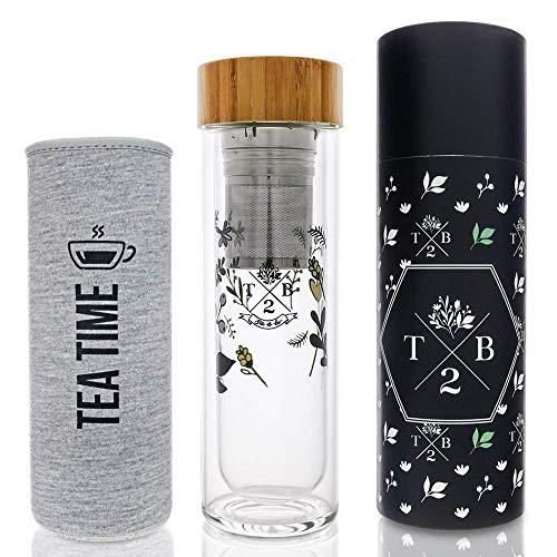 Teeflasche Glas doppelwandig isoliert als Teebereiter Trinkflasche mit Blumenmuster,2-in1 Teesieb und Neoprenhülle grau Tea Time, to-go für Tee, Fruit Infuser und Detox-Wasser, BPA frei, 400 ml