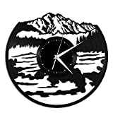 CHENWN Montagne con Acqua Orologio da Parete in Vinile, Regalo di Design Unico per la casa d'Arte e la Decorazione della Stanza
