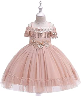 Sumuzhe Princess Dress Girl Bow Princess Dress lace Wedding Party Performance Piano Costume 4-12 Years Old (Color : Gold, Size : 4-5T)