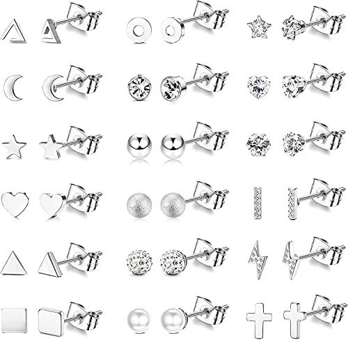 MILACOLATO Juego de 18 pares de aretes de acero inoxidable para mujer, hombre, triángulo, luna, bola de corazón, cruz, cartílago, hélice, tragus, aretes geométricos con barra plana, Acero inoxidable,