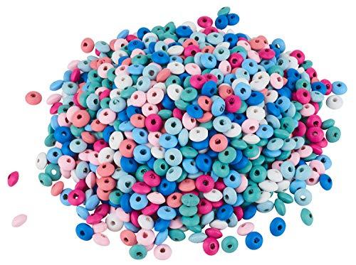 VBS Großhandelspackung 250g Holzlinsen Farbmix Schmuckbasteln Perlen Perlenmix