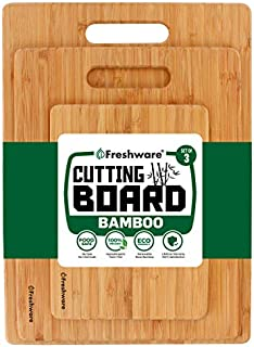 Bamboo Cutting Boards for Kitchen [Set of 3] Wood Cutting Board for Chopping Meat, Vegetables, Fruits, Cheese, Knife Friendly Serving Tray with Handles