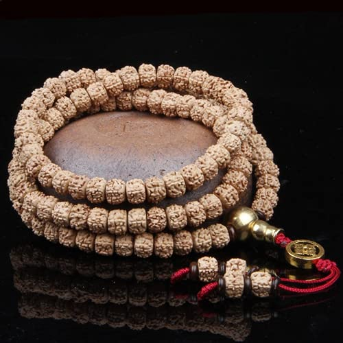 JONJUMP Collar con cuentas de oración de Rudraksha, 7 x 9 mm, budismo tibetano 108