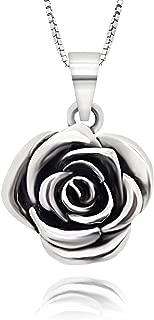 925 Sterling Silver Vintage Rose Flower Pendant Necklace, 18