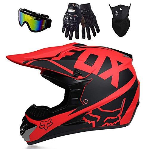 MCRUI Casque de Motocross Fox, Casque MX, Casque de Moto, VTT, avec Lunettes/Masques/Gants, pour Casque de Motocyclette Enduro quadrio, Certification Dot,01,XL