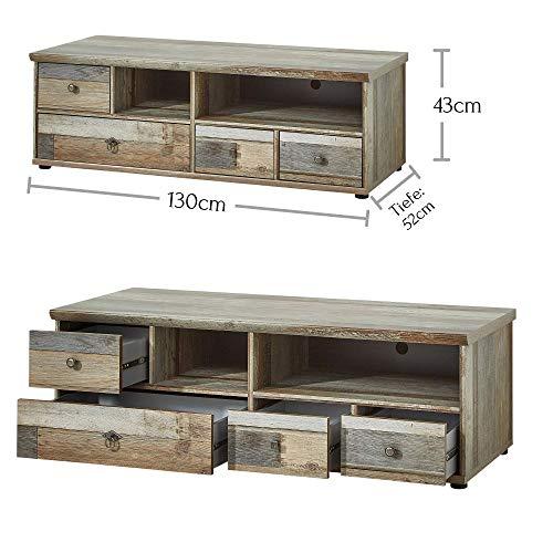 Peter BZDDD01080 Wohnprogramm Wohnwand Set Anbauwand, Holz, braun, 342 x 189 x 52 cm - 5