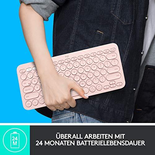 Logitech K380 kabellose Multi-Device Bluetooth-Tastatur mit Easy-Switch für bis zu 3 Geräte, schlank – PC, Notebook, Windows, Mac, Chrome OS, Android, iPad OS, Apple TV, Deutsches QWERTZ-Layout - Rose
